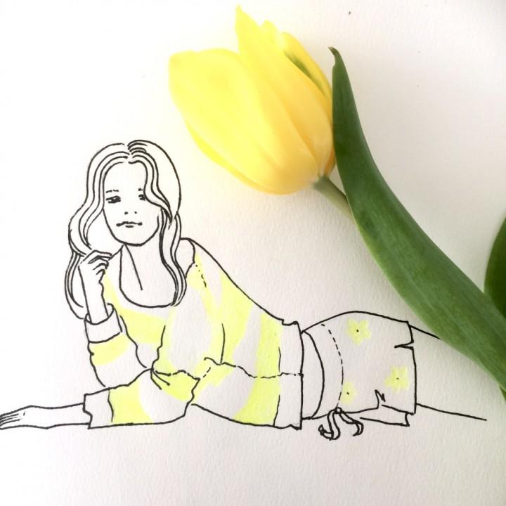 Girl with yellow tulip